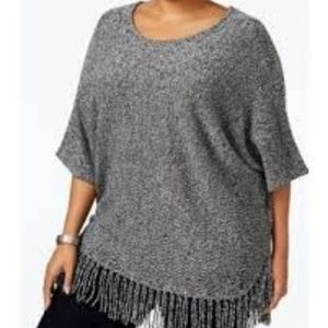 Sweaters - NY Collection Fringe Poncho